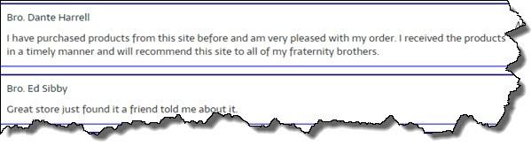 Freemason Store Customer Review 1