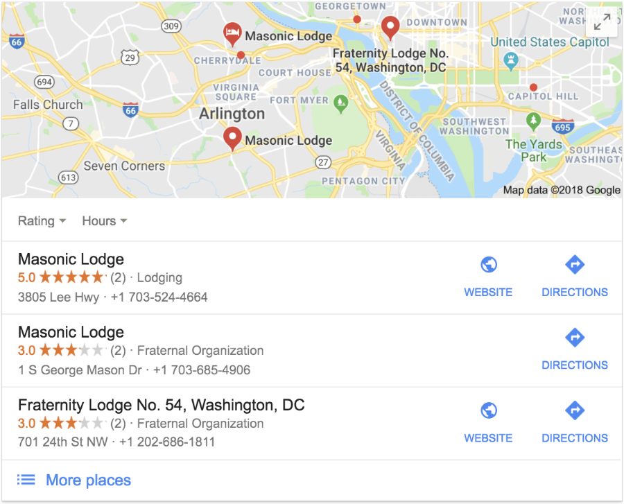 masonic lodges on google