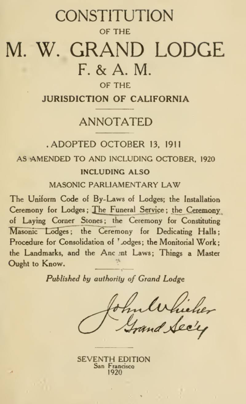 Constitution of The M W Grand Lodge - California - 1920.pdf (page 1 of 460) 2019-01-26 07-20-57